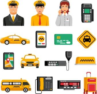 Taxi service icon set