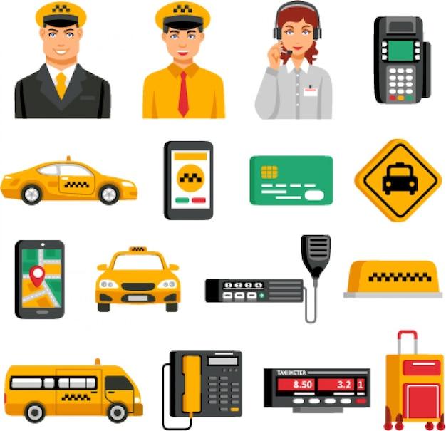 택시 서비스 아이콘 세트