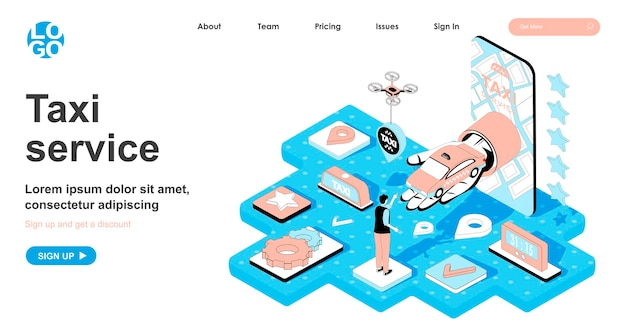 Taxi service isometric concept in 3d design for landing page