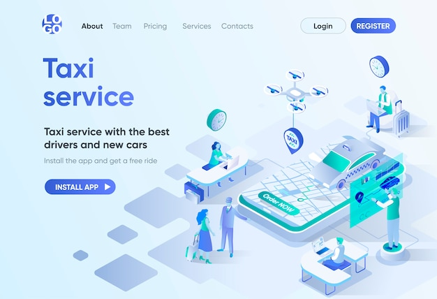 Taxi service isometric landing page. best drivers and new cars, city transfer, passenger transportation. online taxi order template for cms and website builder. isometry scene with people characters.