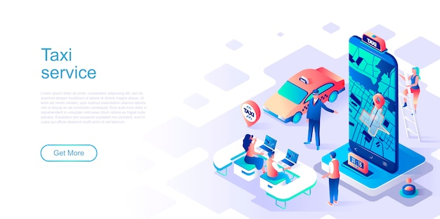 Taxi service isometric landing page vector template.
