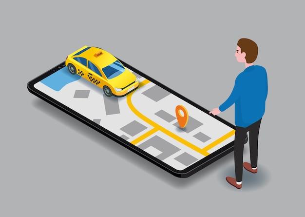 Такси изометрические. человек возле экрана смартфона с маршрутом карты города и желтым автомобилем местоположения точек. онлайн мобильное приложение заказать службу такси
