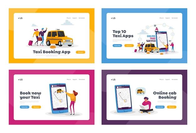 Набор шаблонов целевой страницы службы такси. персонажи, заказывающие приложение для использования автомобиля такси