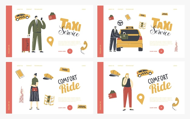 택시 서비스 방문 페이지 템플릿 세트