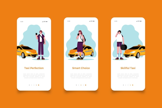 Taxi service mobile app screens