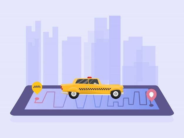 Такси сервис мобильное приложение векторные иллюстрации. желтое такси на фоне города и мобильный телефон с приложением. баннер из кабины онлайн приложение заказа.
