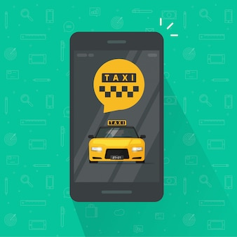 Taxi service on mobile phone or cellphone