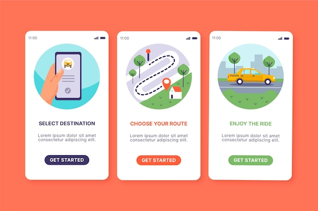 Taxi service onboarding app screen concept