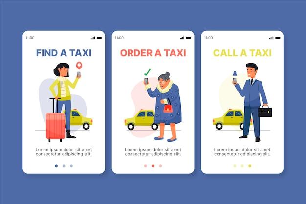 Schermata dell'app di onboarding del servizio taxi
