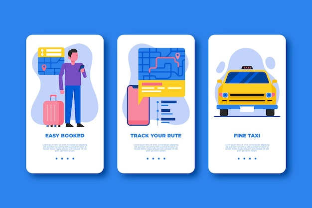 Taxi service onboarding app screens (mobile phone)