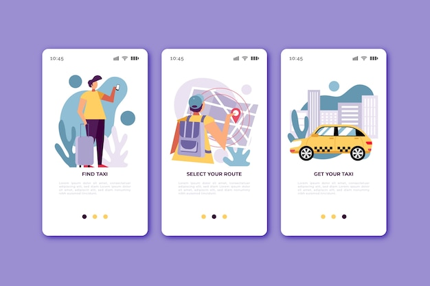 Taxi service onboarding app screens for mobile phone