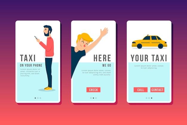Taxi service onboarding app screens set