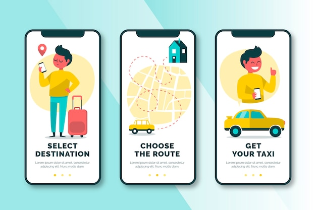 Taxi service onboarding app screens set