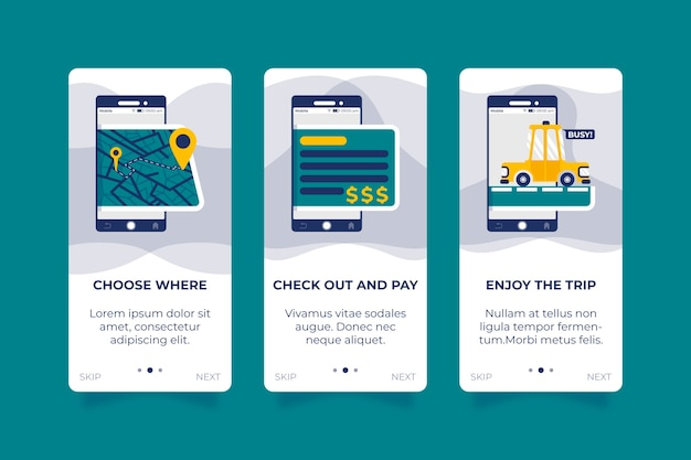 Taxi service for onboarding app screens