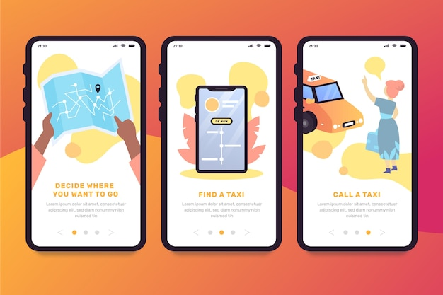 Taxi service onboarding app screens