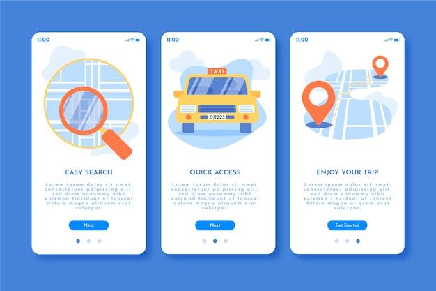 택시 서비스 온 보딩 앱 화면