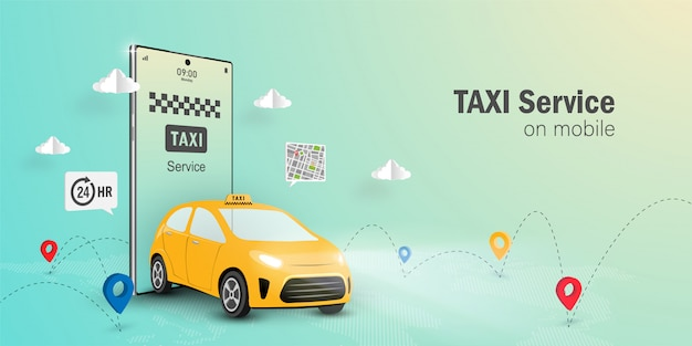 Taxi service online concept, taxi service application on mobile.