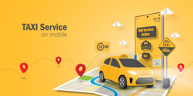 Такси сервис онлайн концепт, приложение такси на мобильном телефоне