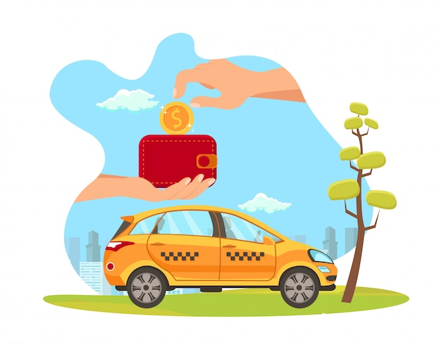 Taxi service payment flat vector illustration