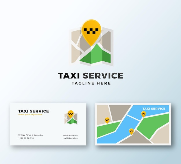 Taxi service point abstract app icon or logo and business card template.