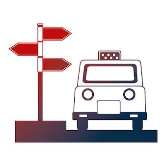Taxi service public arrow direction location