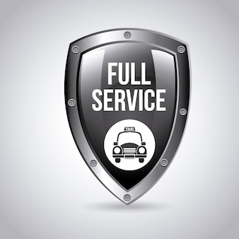 Taxi service shield logo graphic design