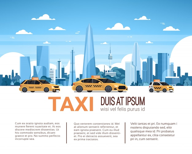 Taxi service template infographic banner with copy space, yellow cab cars over city background