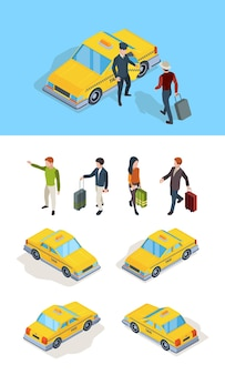 택시 서비스. 여행자 승객은 고급 운전사 전문 운전사 노란색 아이소메트릭 자동차 벡터 사진으로 택시를 부릅니다. 택시 운전사와 승객, 노란색 자동차 운송 서비스 그림