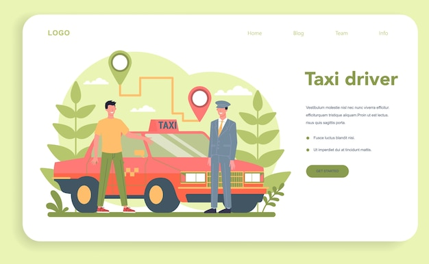 Taxi service web banner or landing page