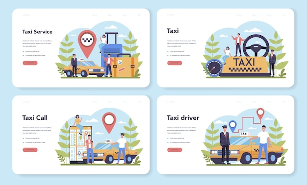 택시 서비스 웹 방문 페이지 세트. 노란색 택시 자동차. 내부에 운전사가있는 자동차 택시. 대중 도시 교통에 대한 아이디어. 격리 된 평면 그림