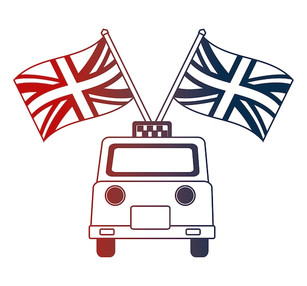 Taxi service with english flags