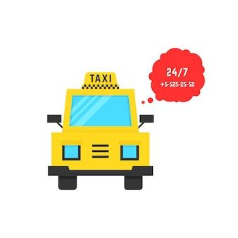 말풍선이 있는 택시 서비스. 통근 택시, 관광, 사용자 친화적, 여행, 고객, 교통의 개념. 흰색 배경에 플랫 스타일 트렌드 현대 로고 디자인 벡터 일러스트 레이 션