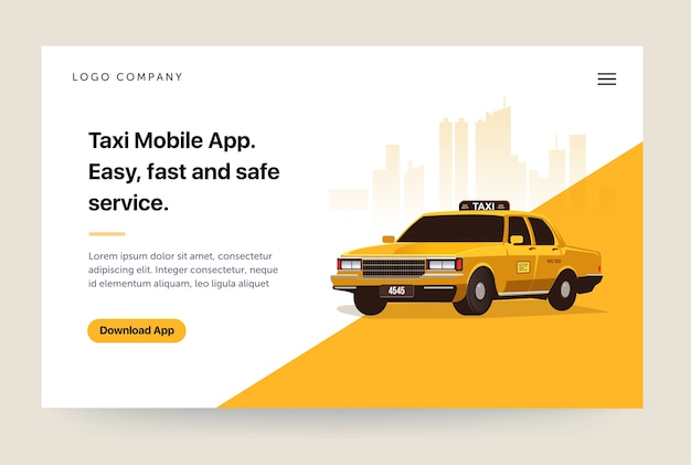 Taxi services mobile app website template