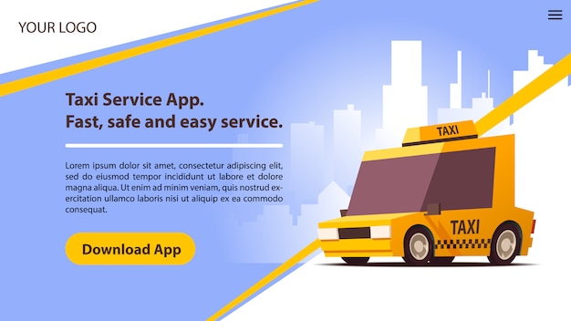 귀여운 노란 택시와 택시 서비스 모바일 앱.