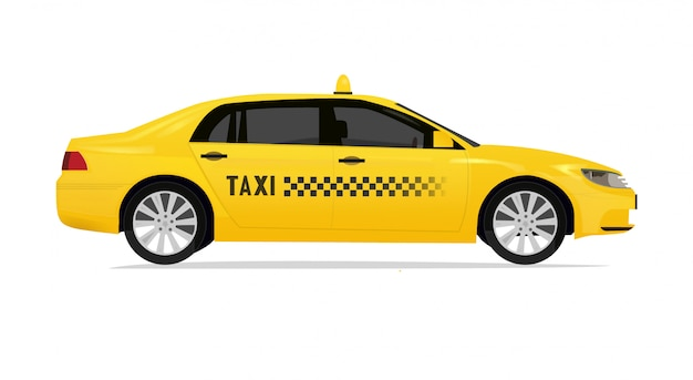 Taxi side view with realistic touchup vector