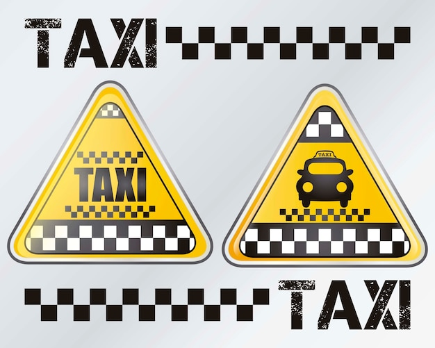 Taxi sign set with silver background vector illustration