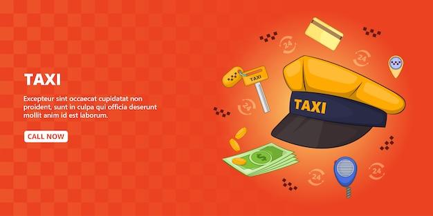 Taxi symbols banner horizontal, cartoon style