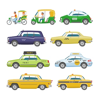 Taxi  taxicab transport and yellow car transportation illustration set of city cab auto on taxi-rank and taxi driver in automobile  on white background