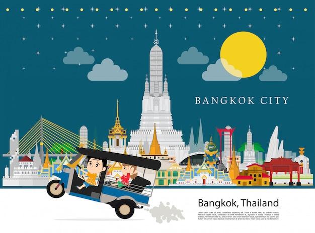タクシータイとバンコク市内への観光 Premiumベクター