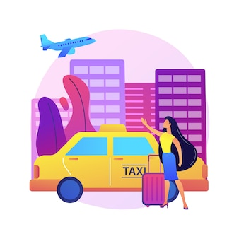 タクシー転送抽象的な概念図。空港プライベートトランスファー、貨物タクシーサービス、ホテル送迎、安全な高速旅行、プロのドライバー、ビジネスクラス。