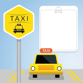 Taxi with sign, front view, blank space