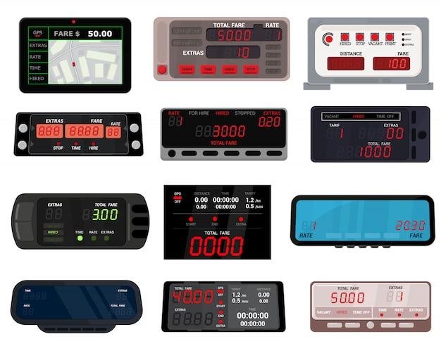 Taximeter   cab car fare taxi meter device equipment measurement illustration set