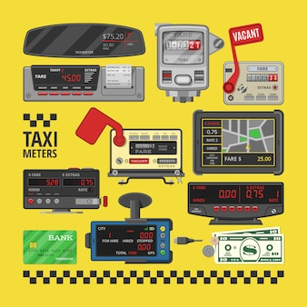 Taximeter vector cab car fare taxi meter device equipment measurement illustration