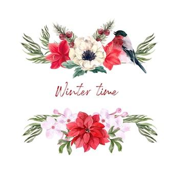Букет зимних цветов с лилиями, taxus baccata, анемон