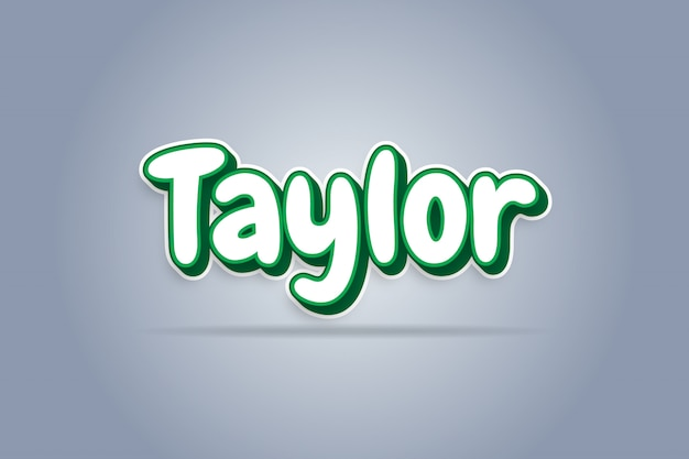 Taylor - white green 3d text effect
