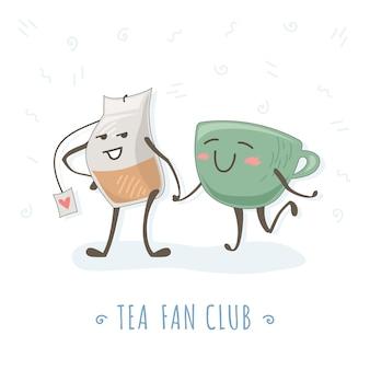 お茶とカップは歩いて手をつなぐ