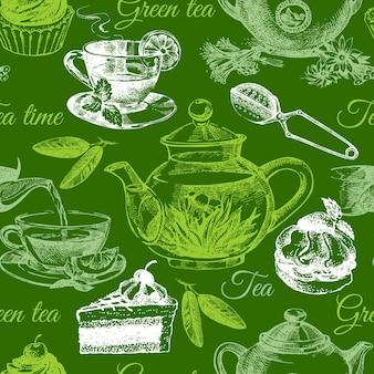 お茶とケーキのシームレスなパターン。手描きスケッチイラスト。メニューデザイン