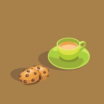 Tea and Chocolate Chip Cookies Illustration