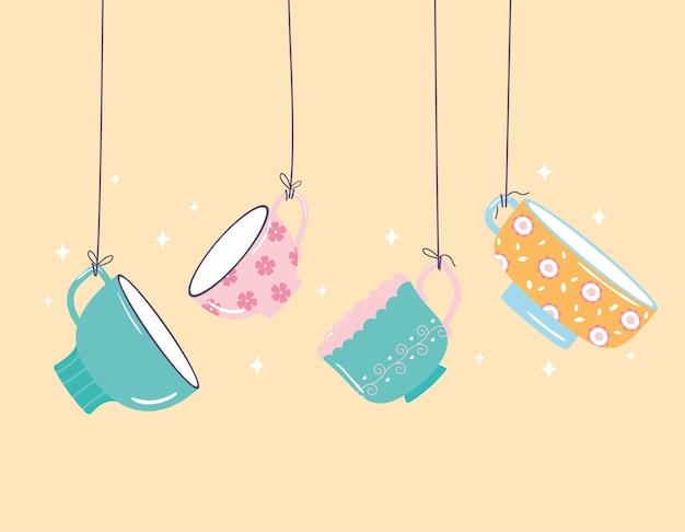 お茶とコーヒーをぶら下げて繊細なカップの装飾デザインイラスト