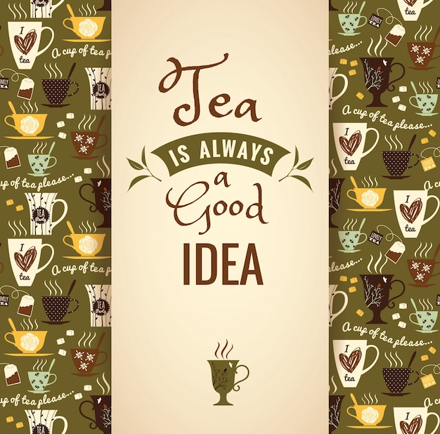 Tea background. poster with typography